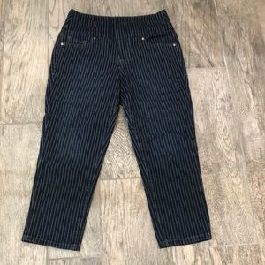 Striped jeans high water cut